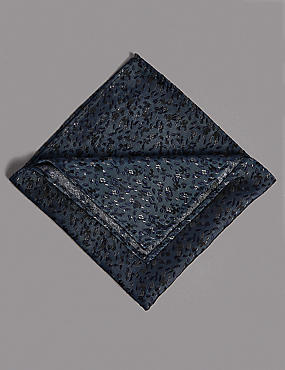 Pure Silk Floral Hank Pocket Square, FRENCH NAVY, catlanding