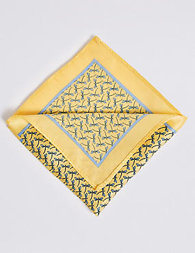 Pure Silk Dragonfly Print Pocket Square, YELLOW MIX, catlanding