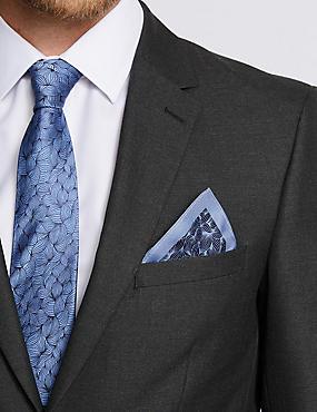 Pure Silk Leaf Motif Print Pocket Square, BLUE MIX, catlanding