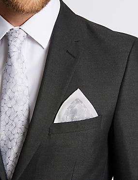 Pure Silk Leaf Motif Print Pocket Square, LIGHT GREY MIX, catlanding