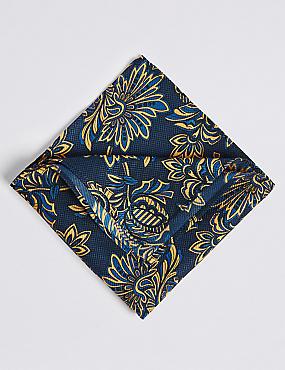 Pure Silk Printed Pocket Square, GOLD MIX, catlanding