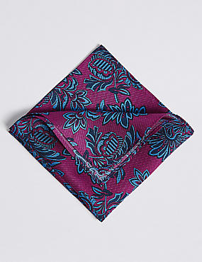 Pure Silk Printed Pocket Square, MAGENTA MIX, catlanding