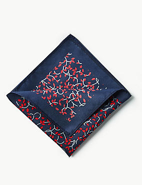 Pure Silk Leaf Print Pocket Square, RED MIX, catlanding