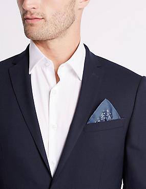 Pure Silk Leaf Print Pocket Square, BLUE MIX, catlanding