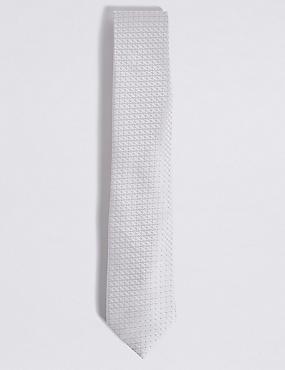 Jacquard Tie, PLATINUM, catlanding