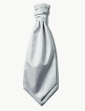 Jacquard Cravat & Pocket Square Set, PLATINUM, catlanding