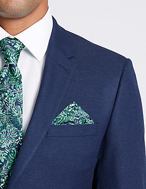Pure Silk Tropical Leaf print Pocket Square, JADE MIX, catlanding