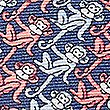 Pure Silk Monkey Print Pocket Square, CORAL MIX, swatch