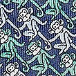 Pure Silk Monkey Print Pocket Square, JADE MIX, swatch