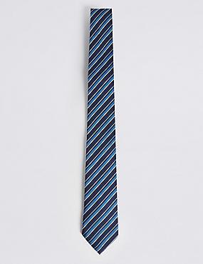 Textured Stripe Tie, BLUE MIX, catlanding