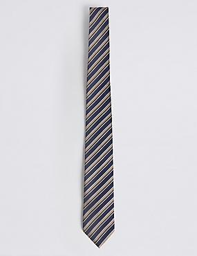 Textured Stripe Tie, BEIGE MIX, catlanding