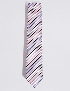 Striped Multi Colour Tie, PALE PINK MIX, catlanding