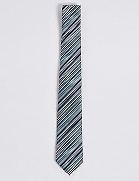 Striped Multi Colour Tie, YELLOW MIX, catlanding