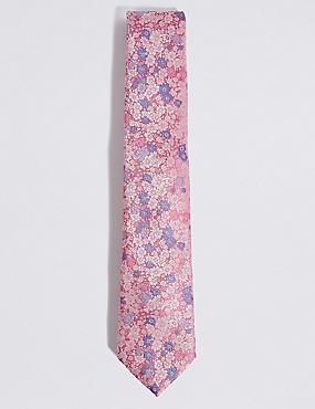 Floral Jacquard Tie, PINK, catlanding