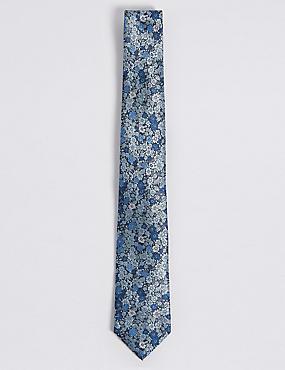 Floral Jacquard Tie, BLUE MIX, catlanding