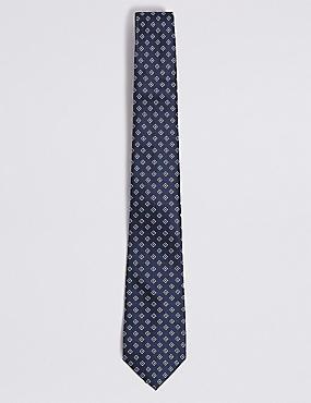 Geometric Print Tie, NAVY MIX, catlanding