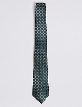 Geometric Print Tie, GREEN MIX, catlanding