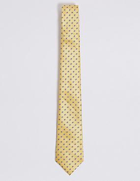 Geometric Print Tie, YELLOW MIX, catlanding
