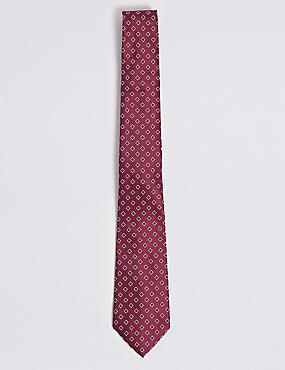 Geometric Print Tie, BURGUNDY MIX, catlanding