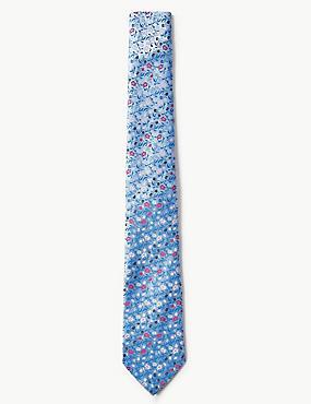 Floral Tie, SOFT BLUE MIX, catlanding