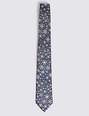 Snowflake Sparkle Christmas Tie, NAVY MIX, catlanding