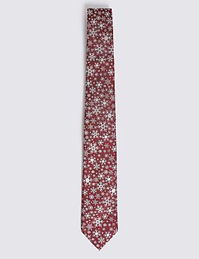Snowflake Sparkle Christmas Tie, BURGUNDY MIX, catlanding