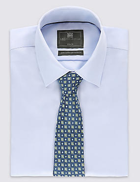 Embroidered Geometric Print Floral Tie