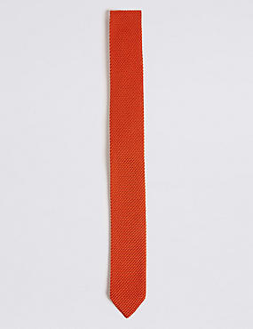 Knitted Tie, ORANGE, catlanding