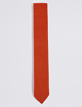 Knitted Tie, BRIGHT ORANGE, catlanding