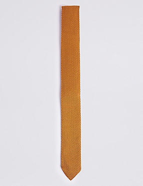 Knitted Tie, MEDIUM GOLD, catlanding