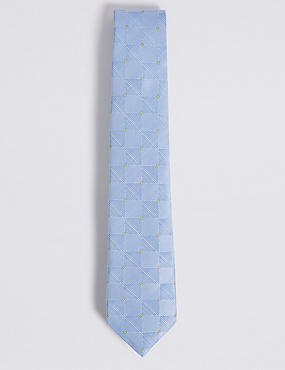 Pure Silk Geometric Print Tie, LIGHT BLUE MIX, catlanding