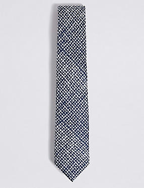 Pure Silk Textured Tie, NAVY MIX, catlanding