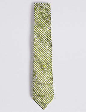 Pure Silk Textured Tie, LIME MIX, catlanding