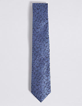 Pure Silk Leaf Motif Tie, BLUE MIX, catlanding