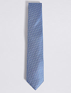Pure Silk Geometric Print Tie, BLUE MIX, catlanding