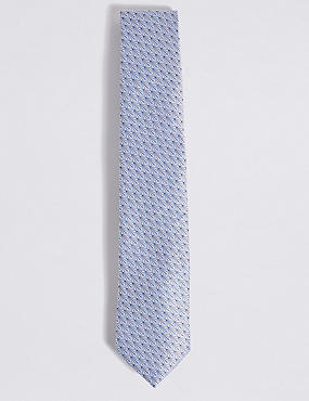 Pure Silk Fan Motif Tie, LIGHT GREY MIX, catlanding