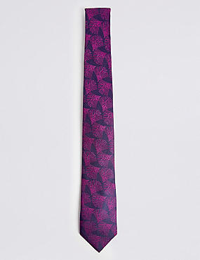 Pure Silk Geometric Fan Tie, PINK MIX, catlanding