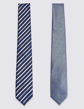 2 Pack Striped & Textured Ties, NAVY MIX, catlanding
