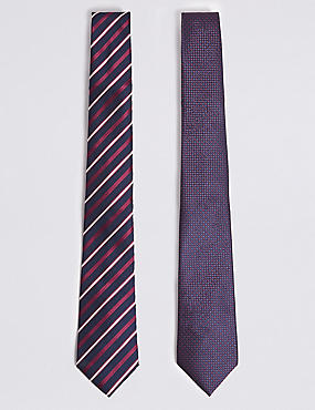 2 Pack Striped & Textured Ties, BURGUNDY MIX, catlanding