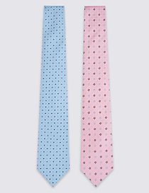 2 Pack Spotted & Floral Ties