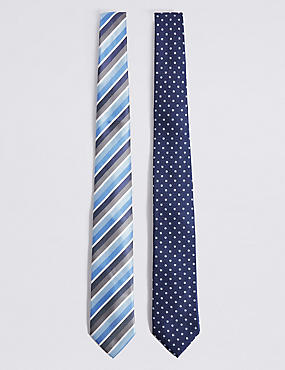 2 Pack Striped & Spotted Tie, GREY MIX, catlanding