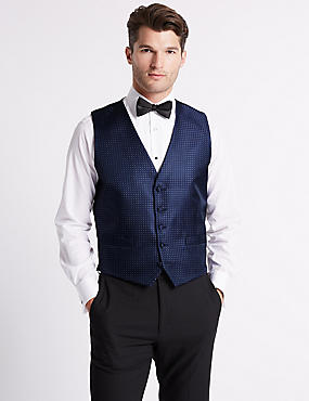 Geometric Waistcoat with Sparkle, BLUE MIX, catlanding