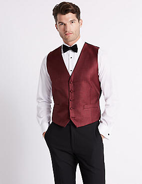 Geometric Waistcoat with Sparkle, BURGUNDY MIX, catlanding