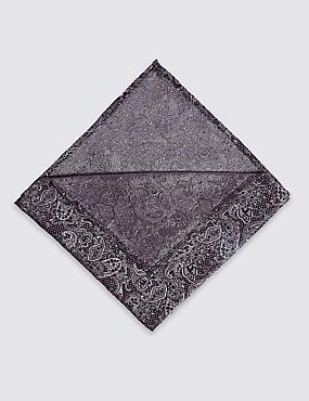 Pure Silk Paisley Bow Tie & Pocket Square Set, BLACK MIX, catlanding