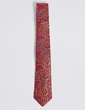 Pure Silk Paisley Tie, ORANGE, catlanding