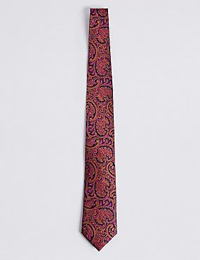 Pure Silk Paisley Tie, ORANGE MIX, catlanding
