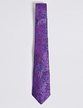 Pure Silk Paisley Tie, FUCHSIA MIX, catlanding