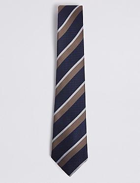 Pure Silk Striped Tie, MOCHA MIX, catlanding