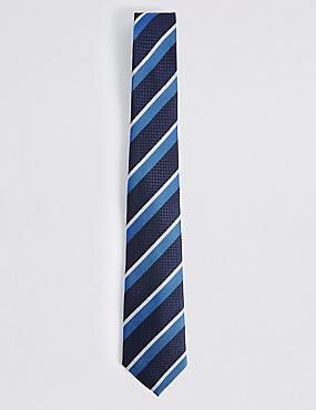 Pure Silk Striped Tie, BLUE MIX, catlanding