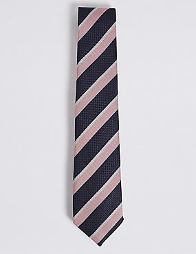 Pure Silk Striped Tie, PALE PINK MIX, catlanding